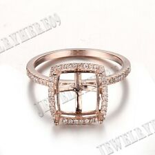10K Rose Gold Natural Diamonds Semi Mount 8x10mm Cushion & Emerald &Radiant Ring