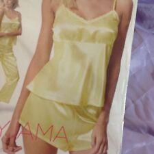 JOLINESSE Ladies 3 Piece Satin Pyjama Set -Top-  Shorts - Pants - M / Yellow