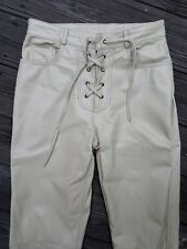 INTERNATIONAL MALE ivory leather low rise football sexy boot cut jeans pants 30