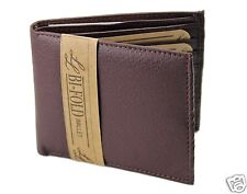New Mens Bifold Leather Wallet Pocket 8 Card Slot ID Brown Thin Billfold Classic