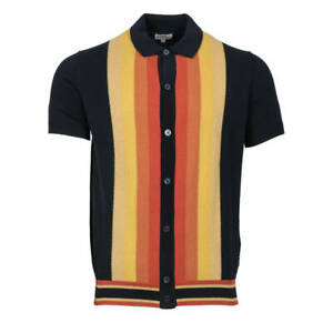 Ben Sherman Knit Polo Collar Short Sleeve Cardigan Navy
