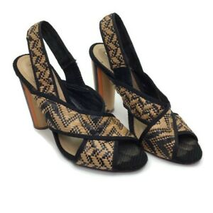 Schutz Natural and Black Leather / Woven Peep Toe Sandal Size 8.5 Brazil Made