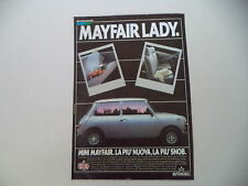 advertising Pubblicità 1984 AUSTIN ROVER MINI MAYFAIR