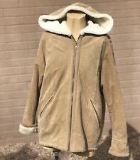 J Percy for Marvin Richards Hooded Leather Suede Coat Size Medium Big Heavy Zips