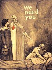 Guerra di propaganda WWI UK carità CROCE ROSSA INFERMIERA OSPEDALE Arte Poster Stampa lv7256