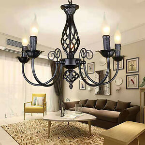 Retro Industrial Chandelier Ceiling Pendant Lighting Hanging Fixture 5 Light AU