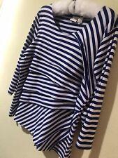 CHICO'S Women Layered Stripes Blue White Stretch Top Blouse Sz 2 (12/14)