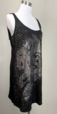 Express Top  Black Silver Sequins Rose Sleeveless Long Scoop Casual Dressy Sz L