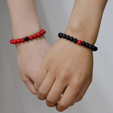 Stone Distance Couple Bracelets Gift Fashion Women Men 8mm Red&Black Natural