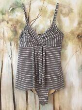 e09a7cf3e20d6 Garnet Hill Ladies Swimsuit Gray, White Stripes, Swim dress, High Quality  Size 4