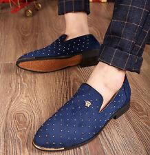 Men's Formal Retro Shoes Dress Pointed Toe Slip On Rivet Studded Loafer Shoes