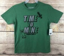 Minecraft Time To Mine Short Sleeve T-Shirt Boys Size XS 4/5 - Green - NWT