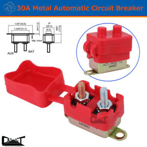 30A AMP 12V Metal Circuit Breaker Cover Fuse Auto Rest Dual Battery