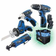 Draper Stormforce 10.8V 4pk 3 Batt, Drill, Impact driver Recep Saw Ratchet 52023
