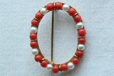 ovale Gold-Brosche mit echten Korallen und Perlen 585/000 Juweliersarbeit