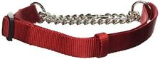 Hamilton Adjustable Combo Choke Dog Collar Medium Chain and Red Nylon