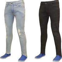 Mens Jeans Slim Fit Skinny Stretch Denim Pants Distressed Frayed Branded