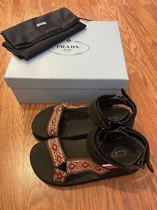 NEW in BOX Prada 38.5 Nomad Embroidered Platform Sandal Black Sport Cognac