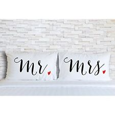 Rubies & Ribbons Mr and Mrs Embroidered Pillowcases for Couples - His and Hers