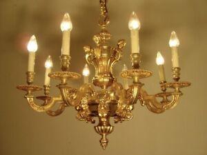 "HEAVY MAZARIN 8 LIGHT GOLD BRONZE FINISH LIGHTINGS CHANDELIER LAMP  Ø 28"""