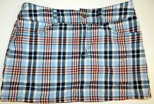 Mascara Junior Mini Skirt Blue Red Plaid Cotton Tartan Juniors size 5