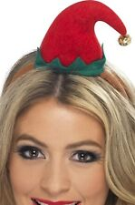 Ladies Christmas Mini Elf Hairband Hat With Bell Fancy Dress Costume Accessory