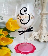 Personalised hand painted wine glass champagne birthday 18th 40th flute 30th mum