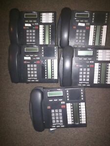 Lot of 5 Nortel Networks Norstar Meridian T7316E and or T7316 Charcoal Phones
