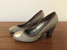 WOW!!! SANINA Light Gray+Gold Calf Hair/Leather 2 IN. heels - Sz. 8.5