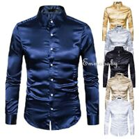 Men Formal Satin Shiny Silk Wedding Dress Shirt Sequins Slim Long Sleeve T-shirt