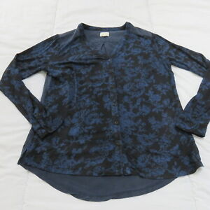 EAST PRETTY BLACK & BLUE DARK FLOWER PRINT STRETCH JERSEY LONG SLEEVE TOP UK 14