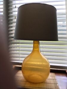 POTTERY BARN Eva Colored Amber Glass Table  Lamp w/ Ivory Linen Drum Shade