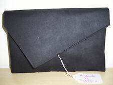 OVER SIZED BLACK Faux Suede asymmetrical clutch bag. Handmade in the UK.