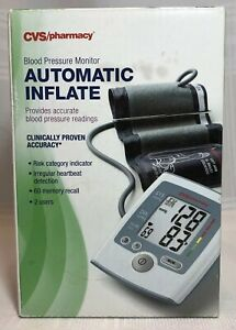 CVS Automatic Inflate Blood Pressure Monitor OTC, 2 Users, 60 Memory, Batteries