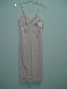 """NWT Women's USA Made Nancy King Lingerie 26"""" Full Dress Slip Size 32 Pink #3N"""