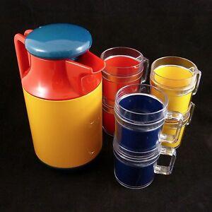 Vintage Patio Party Thermos & 8 Cups Set A. K. DAS & Company Yellow Orange Blue