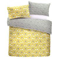 Fusion ADA  Ochre Mustard Yellow Scandinavian Flowers Duvet Cover / Bedding Set