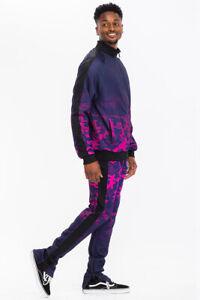 Mens Casual Camo Pattern Track Suit Jogger Pant Set