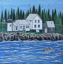 Winter Harbor Lighthouse, Maine 12 x 12 ORIGINAL PAINTING Folk ART Karla Gerard