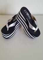 ROCKET DOG  Women's Black & White Stripe Paradise Leather Platform Sandals