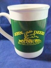 John Deere Moline ILL Mug White Green Gibson Deer Cup Gibson 16 Oz Ceramic
