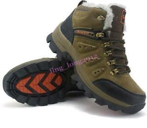 Mens Winter Warm Ankle Boots Lace Up Hiking Snow Shoe Round Toe  Fur Linen Climb