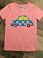 Mini Boden Girls Pink Floral Car Appliqué Top Euc size 7 8