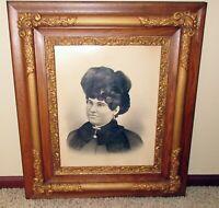 19th Century ornate antique gold gesso dark oak frame portrait 1800s woman 25x30