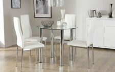 Solar & Leon Glass & Chrome Dining Table And 4 Chairs Set (White)