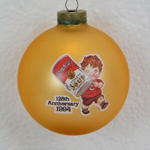 1994 Campbell's Soup 125th Anniversary Christmas Ornament Campbell's Kids Glass
