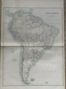 1897 SOUTH AMERICA LARGE ORIGINAL ANTIQUE MAP A & C BLACK 123 YEARS OLD
