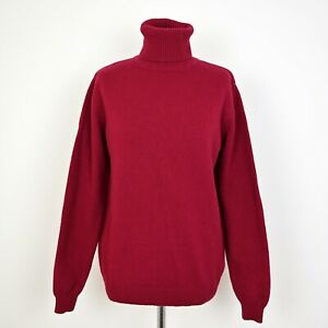 Womens WOOLOVERS 100% wool Jumper High Neck Size UK 14-16 Red Sweater Pullover
