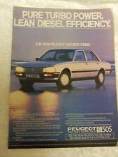 PEUGEOT 505 SRD TURBO SALOON 1982 POSTER ADVERT READY TO FRAME A4 SIZE