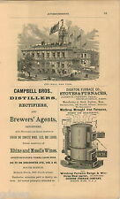 1876 ADVERT City Hall New York Campbell Bros Wines Ales Beer Dighton Furnace